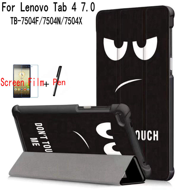 Magnetic <font><b>Case</b></font> <font><b>for</b></font> <font><b>Lenovo</b></font> <font><b>Tab</b></font> 4 <font><b>7</b></font> TB-7504F/7504N/<font><b>7504X</b></font> <font><b>7</b></font>.0 inch <font><b>Tablet</b></font> ,iBuyiWin Stand PU Leather Funda Cover+Screen Film+Pen image