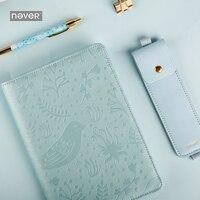 sky blue flower and bird A5 PU cover Notebook Metal pen & Bag Agenda School Supplies Diary Journal Travelers Notebook Planner A5