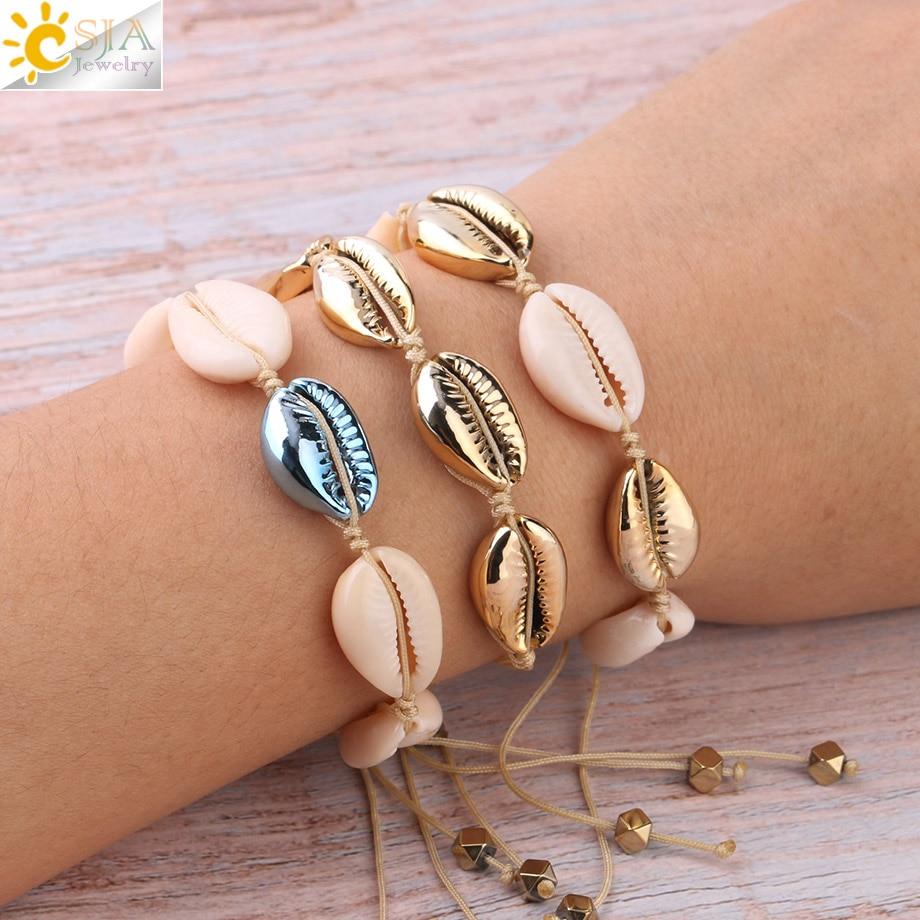 CSJA Natural Sea Shells Bracelets Seashell Bracelet White Gold Color Women Cowry Cowrie Knit Beach Summer Handmade Jewelry S339