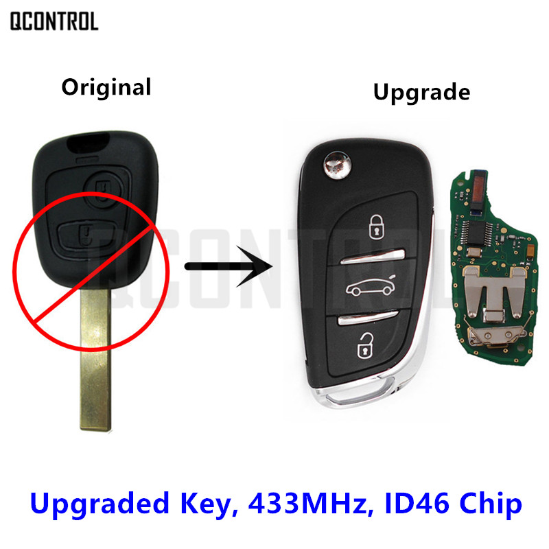 QCONTROL Upgraded Flip Key for Peugeot 307 (2001 - 28/03/2005) without CAN multiplex HU83 Blade