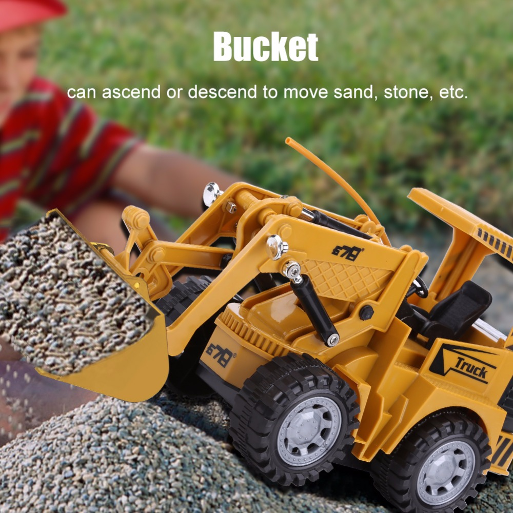 1:24 RC Excavator Truck 5 Channel RC Tractor Digger Easy Convenient Durable Use Remote Control Excavator Construction Truck Toy