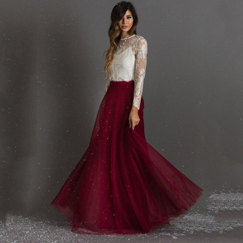 Burgundy Floor Length A line Women Tulle Skirts Long Colorful Womens Skirts Saia Tutu Slirt Tulle