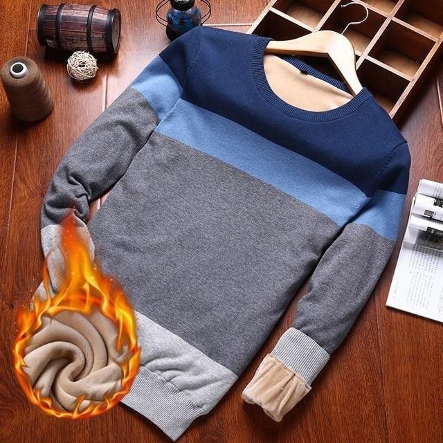 Varsanol איש סוודר כותנה ארוך שרוול סוודרים סרוגים גברים V צוואר סוודר חולצות סריגים פסים Slim Fit סוודרים חמים חדש