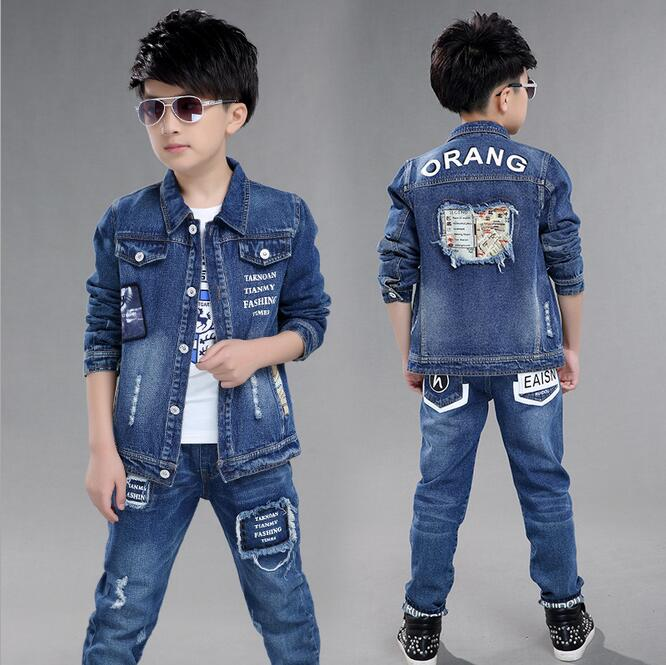 Boys Denim Long Sleeve Suits Classic Lapel Coat Vetement Enfant Garcon Two-piece High Quality Fabric Children's Clothing boys clothing set cartoon mickey long sleeve t shirt pants two piece two piece suits children clothing ensemble garcon 12m 5t