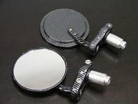 Brand New Black Carbon Fiber 7 8 Bar End Mirrors Round 3 For Suzuki DS JR