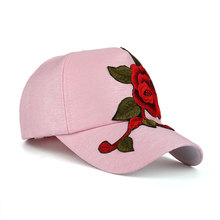 Large Flower Embroidered Snapback Cap