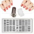 2017 Caliente 6X12 cm XY-J 1-32 Lace Nail Art Stamping Set Metal Plantillas Stencil Sello y Raspador de uñas Transparente