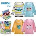 5 muchachas de los bebés camiseta danrol unids/lote de dibujos animados camiseta Cuello Redondo Bordado Niños Infantiles del Algodón del Bebé de Manga Larga T-Shirt V30