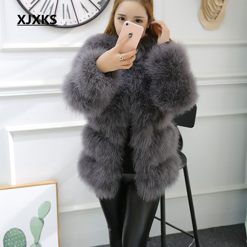 aab568463e7 2018 autumn and winter long section of thick round neck Slim thin ostrich  hair real Ostrich feather coat Women winter jacket-in Real Fur from Women's  ...