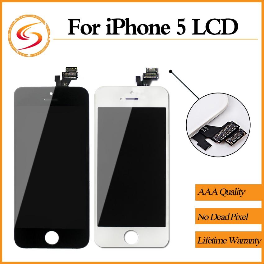 imágenes para 10 unids/lote aaa + + + ensamblaje de la pantalla lcd para iphone 5 5g reemplazo de la pantalla 100% nuevo de alta calidad libre del envío