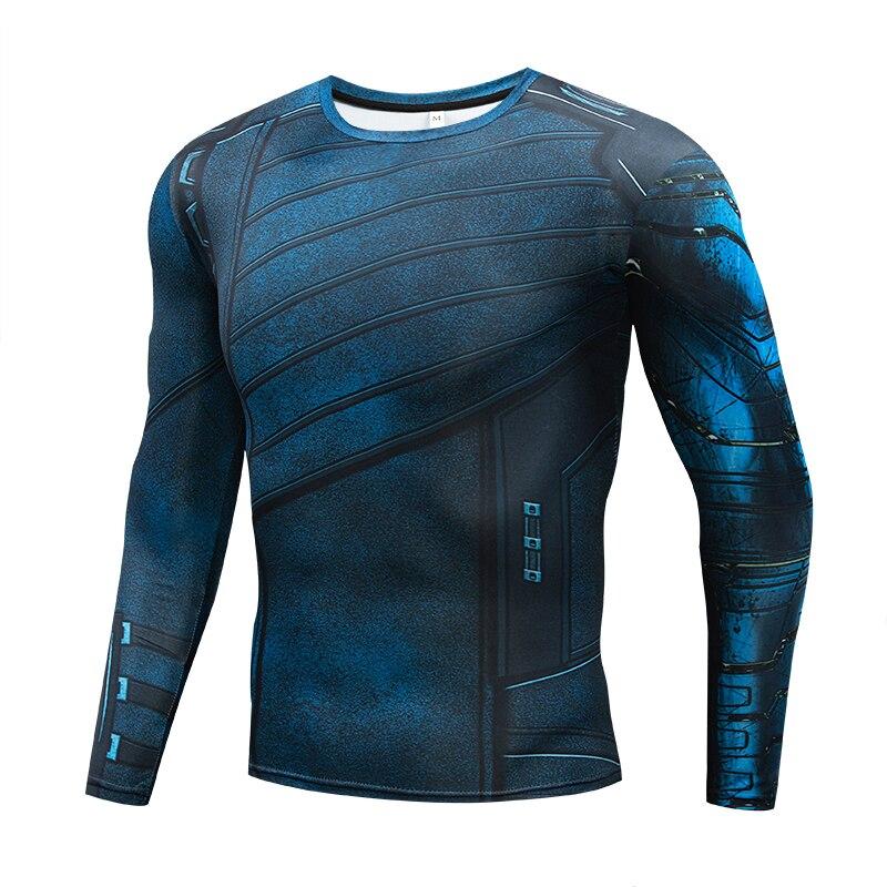 2018 Marvel superhéroe Soldado de invierno Bucky 3D hombres camiseta Fitness Crossfit Camiseta de manga larga camisa de compresión MMA
