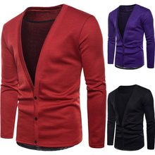 LASPERAL 2018 New Arrival Men Solid Cardigan Mens Casual Sweater 3 Colors Sexy High Quality Pullover For Men Cardigans Masculino(China)