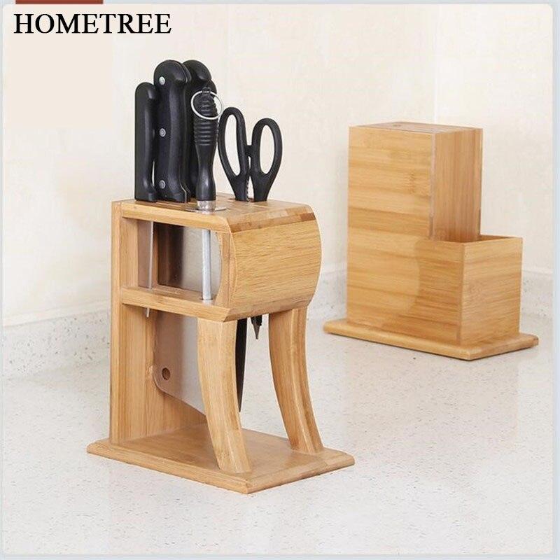 HOMETREE Multifunctional Holes Bamboo Knife Rack Creative Storage Rack Tool Wood Kitchen Knife Holder Knife Stand Supplies H487