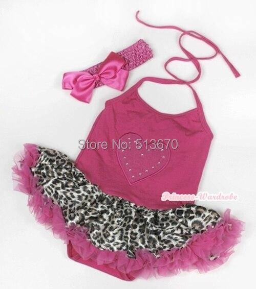 Clothing, Shoes & Accessories Hot Sale Pink Leopard Rose Halterneck Pink Bodysuit Pink Leopard Skirt Baby Dress Nb-2y