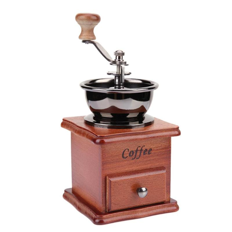 Wooden Manual Coffee Bean Grinder Stainless Steel Hand Coffee Grinder Ceramic Burr Coffee Grinding Machine Pepper Mills household manual hand maize soybean wheat coffee bean pepper grinder crusher