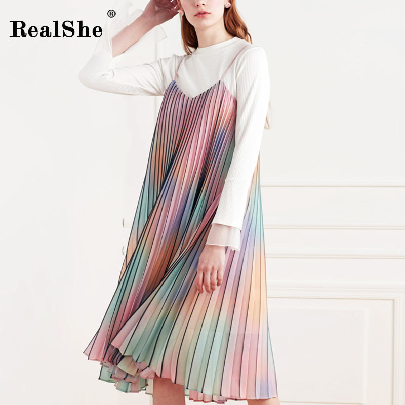RealShe Womens Gradient Rainbow Dress 2018 New Sexy V-neck Spaghetti Strap Women Sundress Party Club Wear Midi Dress