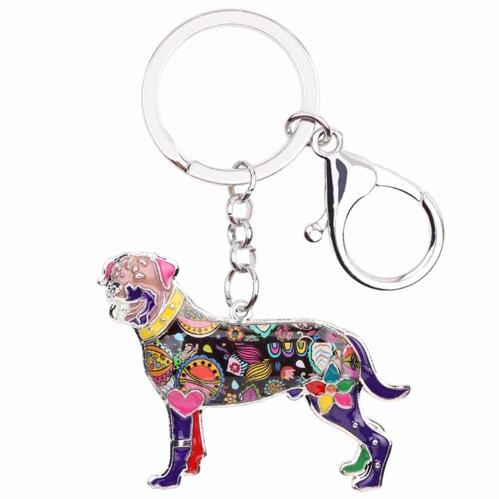 Bonsny Esmalte Cão Rottweiler Chaveiro Anel Chave do Presente Da Lembrança Para As Mulheres Saco De Charme Da Moda Animais Jóias Acessórios Keychain