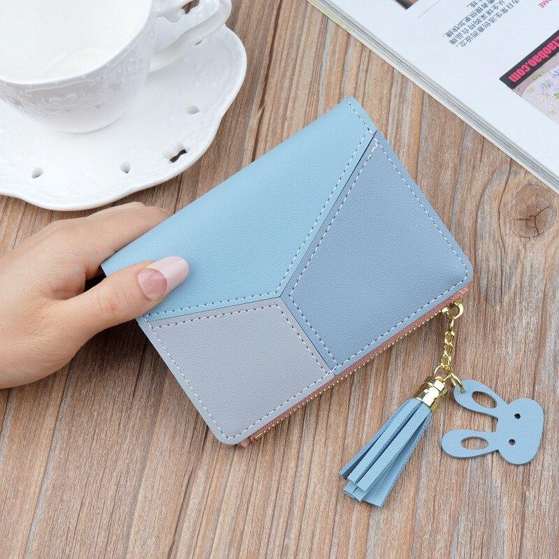 Новое поступление, кошелек, короткие женские кошельки, на молнии, кошелек, пэчворк, модные, со вставками, кошельки, трендовые, портмоне, держатель для карт, кожа - Цвет: Синий