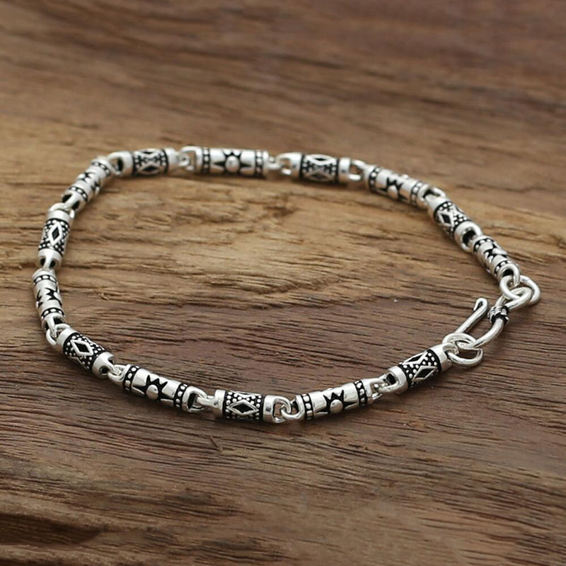 Bracelet 925 Sterling Silver Bangle Women Men Sun Lucky High Quality bamboo Tube  Band Jewelry GB15
