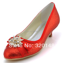 Fashion Ladies Red Cone Heels Wedding Pumps EP2101 Round Toe Pearls Rhinestone Bow Low Heel Glitter Prom Shoes