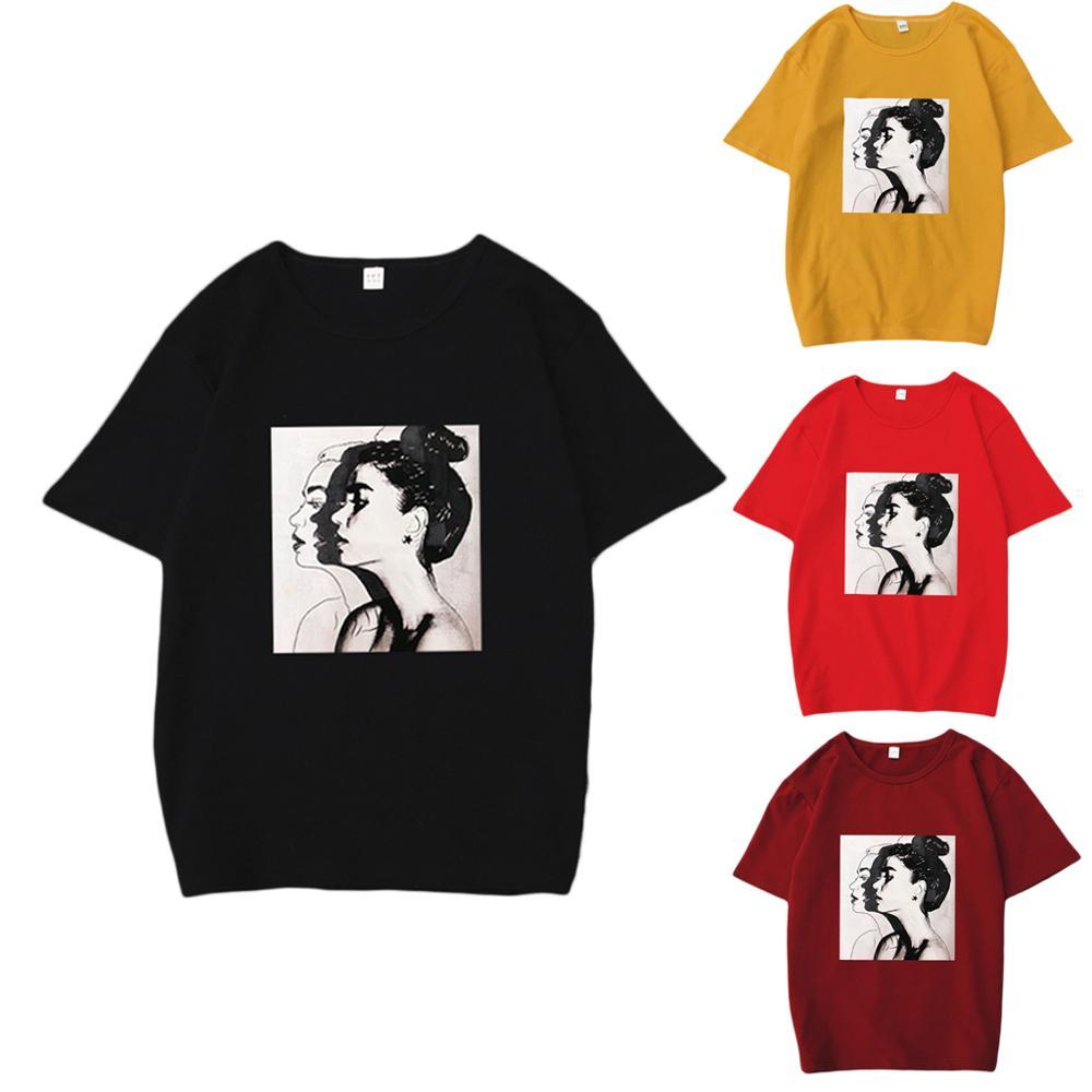 Women Girls Summer Oversized Loose Pullover Tops Hip Hop Lady Portraits Printed Ulzzang Half Sleeve T-Shirt Round Neckline