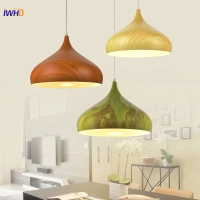 IWHD Nordic Pendant Lights Dining Room Wood grain Pendant Lamps Modern Colorful Restaurant Coffee Bedroom Aluminum Lighting E27 a1 master bedroom living room lamp crystal pendant lights dining room lamp european style dual use fashion pendant lamps