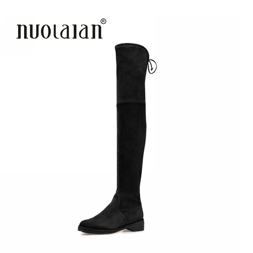Brand Fashion Women Over Knee Boots Suede Thigh High Boots With Warm 2018 Autumn Winter High Quality Classical Botas Women Shoes