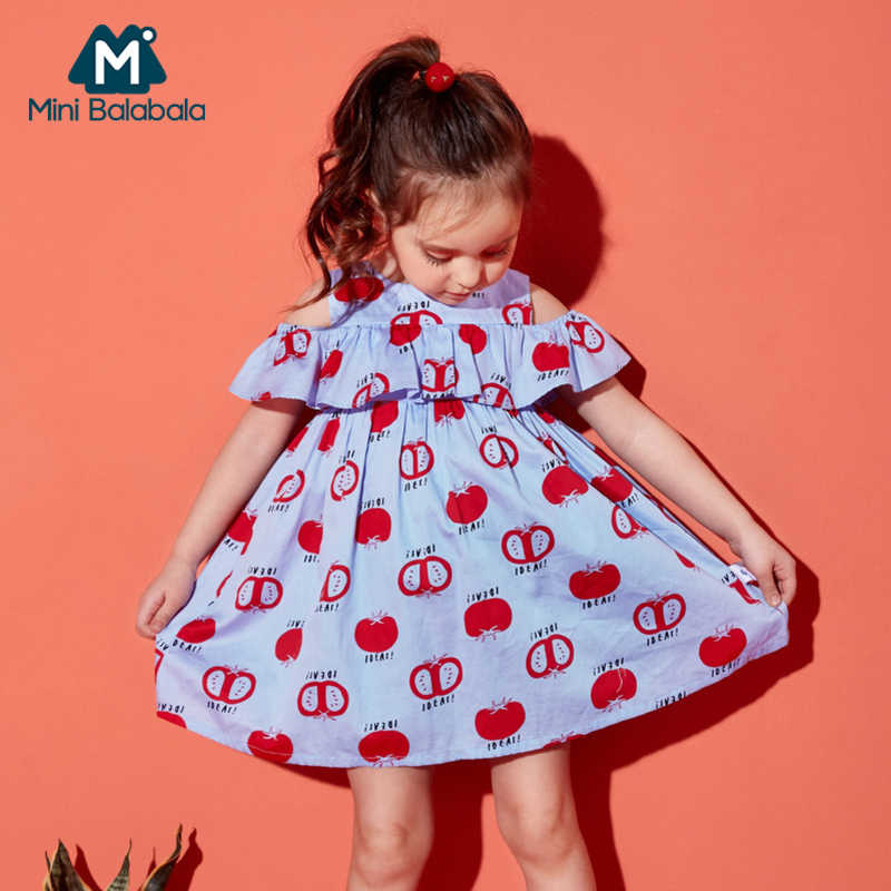MiniBalabala Toddler Girls 100% Cotton Shoulder Dress with Ruffle Trim Children Kids Girl Flared Dresses Summer Sundress