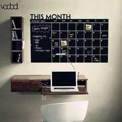 Горячая 92*60 см месяц календарь доске Съемная планировщик наклейки на стену черная доска Офис школа виниловые наклейки поставки