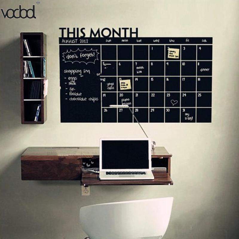 Hot 92*60cm Month Calendar Chalkboard Blackboard Removable Planner Wall Stickers Black Board Office School Vinyl Decals Supplies guideboard removable personalised vinyl wall stickers