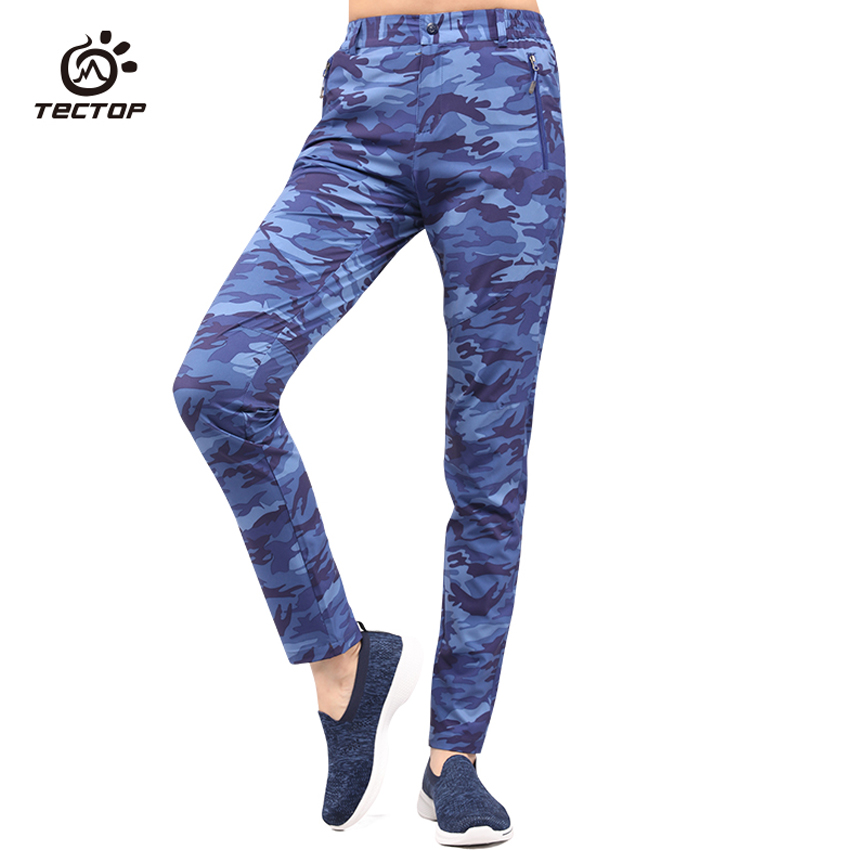 TECTOP Women's Summer Quick Dry Pants Outdoor Sports Hiking Elastic Breathable Camouflage Trekking Camping Female Trousers VA469