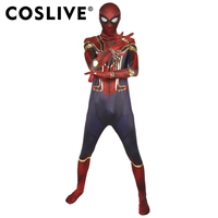 Coslive новая версия Amazing Spider man 2 фильма Косплэй Человек паук комбинезоны с Headhood костюм для Для мужчин для взрослых