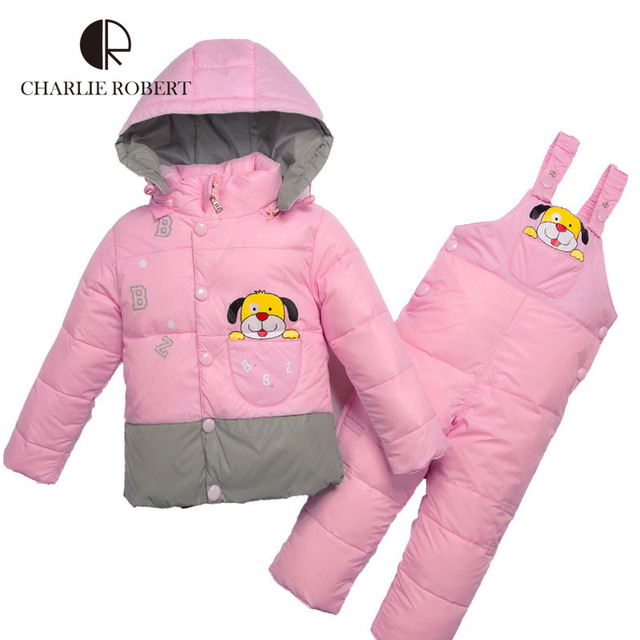 Children Clothing Winter Jacket For Girls Boys Baby Clothing Sets Parkas Down Coat Overalls Pants Hooded Baby Clothes Outerwear