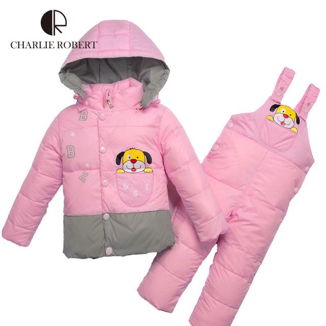 Crianças Jaqueta de Roupas de Inverno Para Meninos Das Meninas Do Bebê Conjuntos de Roupas Parkas Para Baixo Casaco Calças Macacão Com Capuz Roupas de Bebê Outerwear