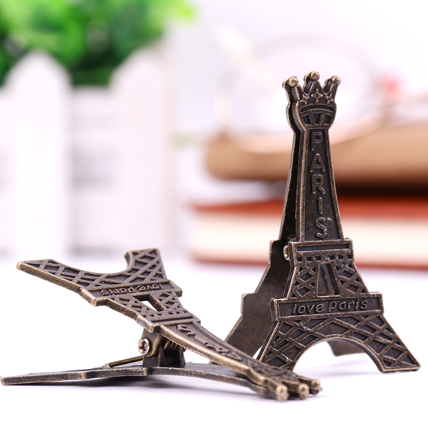 1 PC Retro Style Paris Eiffel Tower Metal Clips Photo Bookmark Decoration Clip Office Supplies