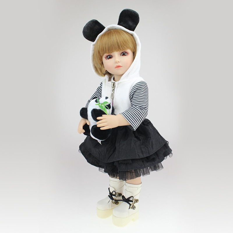 Nicery 16inch 40cm Bjd Ball Joint Doll Girl Doll Full High Vinyl Christmas Toy Gift for Children White Coat Little Panda Doll largest size 95cm panda plush toy cute expression panda doll birthday gift w9698