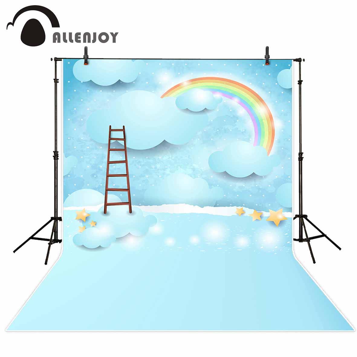 Allenjoy photographic background Children Cartoon Blue Rainbow Night Stars Photographic background for study Photo background