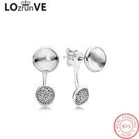 LOZRUNVE 2018 original 925 sterling silver drop earing water drop shinning zirconia vintage earring jackets women wholesale