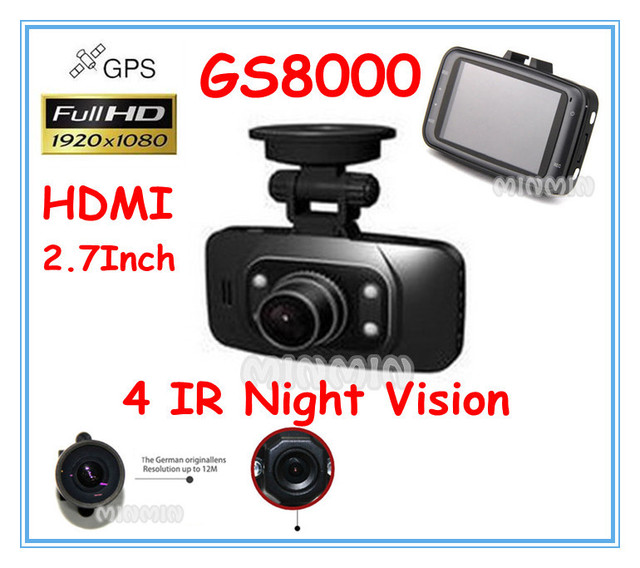 Car DVR HDMI Ambarella GPS with full hd 2.7'' TFT Colorful 1080p LCD camera night vision 170 degree Car Black Box Free shipping