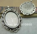 27*45MM Inner:18*25mm   Antique Silver Blank Pad Tray Pendant ,DIY Jewelry Base Cameo Setting