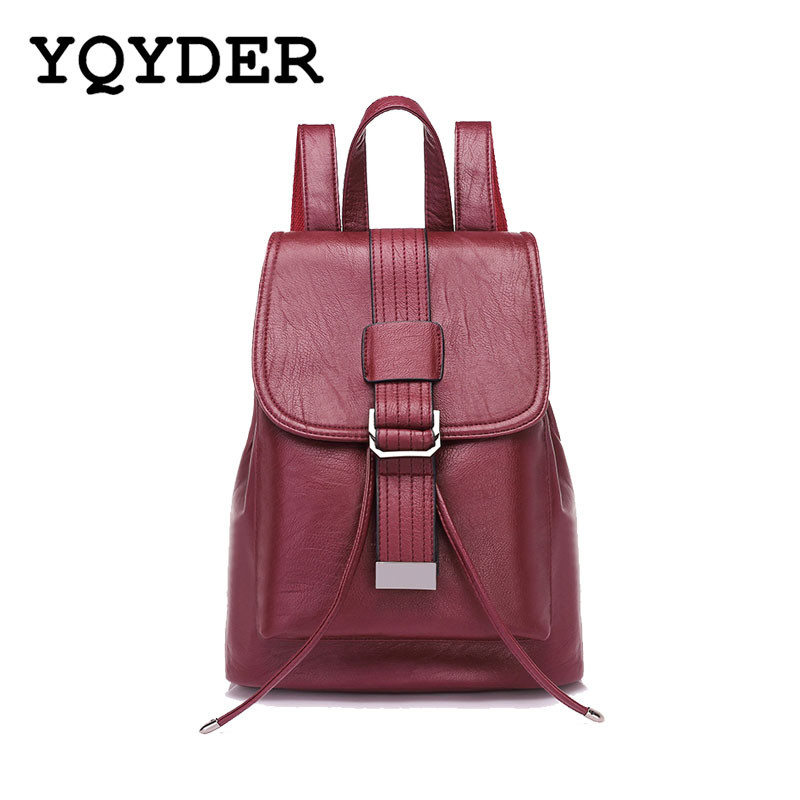 YQYDER Women Backpack Vintage belts Backpacks for Teenage Girls Drawstring Large School Bags Rucksack PU Leather Black Bag Sac jmd backpacks for teenage girls women leather with headphone jack backpack school bag casual large capacity vintage laptop bag
