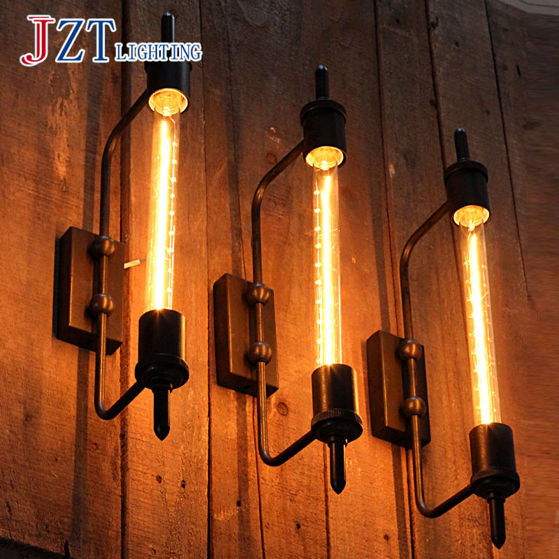 T Loft Retro Industrial Wall Lamp For Bar&Coffee Shop&Restaurant E27 Edison Light Bulb American Style Iron Bedside Lighting цена