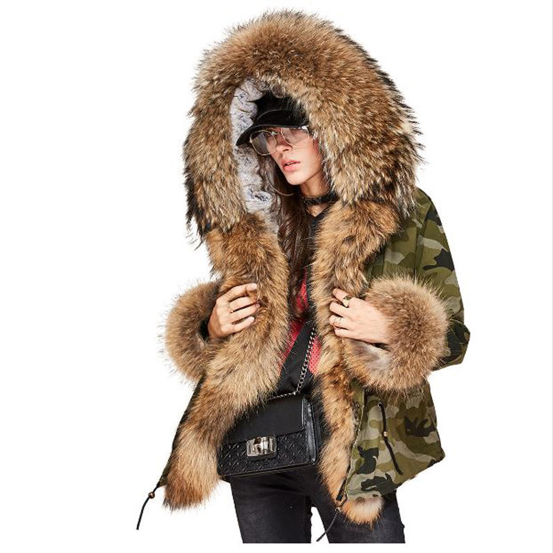 American New 2017 Winter Womens Fashion Loose Oversize Big Real Raccoon Cuff Split Camouflage Short Parkas Jackets Thick Coats