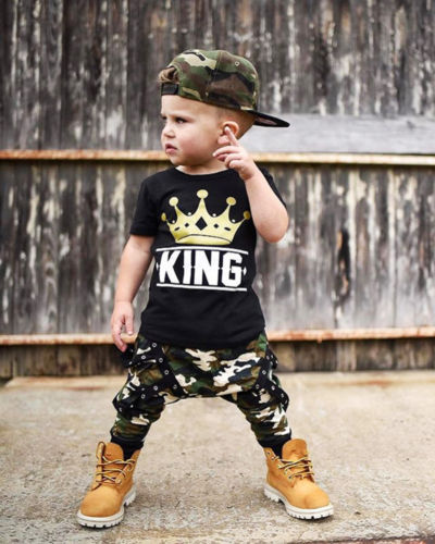 "2-Pieces Trendy Letter ""King"" Short Sleeve Tops and Camouflage Patterned Pants Set for Baby Boy"