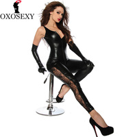 2017 New Open Crotch WomenSexy Lingerie Leather Catsuit Low Cut Zipper Leotard Bodysuit Night Clubwear Sexy