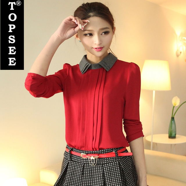 a8ed38c58b6947 Spring Autumn Korean Style New Lady Chiffon Blouse Shirt Slim Patchwork  Design Double-Layer Collar Puff Sleeve Hot Blouse E5271