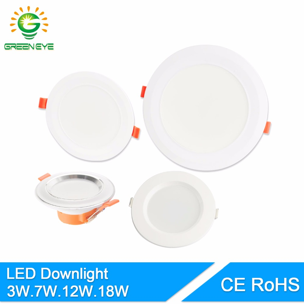 GreenEye 4/5/6 / 7.5Inch Soft Light LED Downlight 3w 7w 12w 18w Loft Indbygget LED Spot Lamp LED Down Light 220v Indoor Lighting