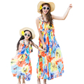 2016 Bohemian Summer Mother Daughter Dresses Sleeveless Striped Casual Chiffon Long Beach Travel Outfit Family Clothing AF1652
