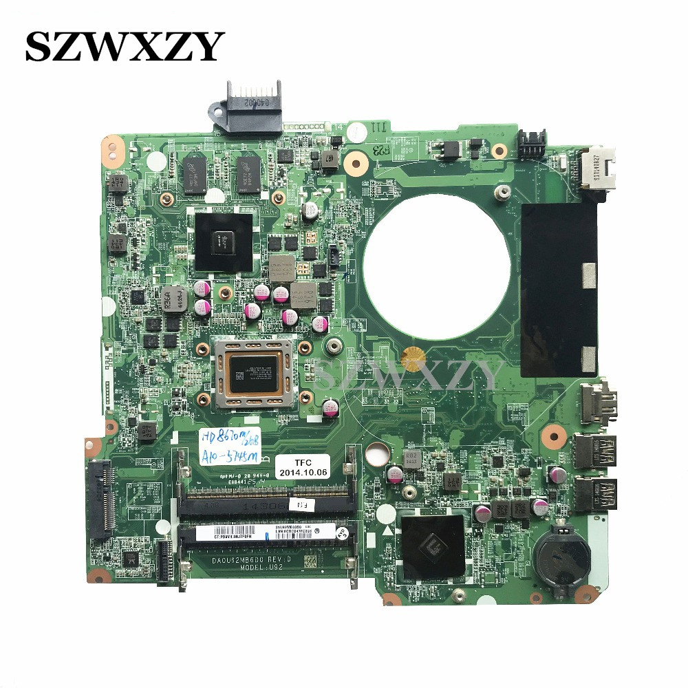 High Quality For HP 15 N Series Laptop Motherboard 734824 501 U92 With A10 5745M Processor