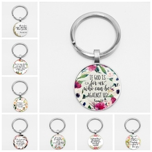 Handmade Bible Quote Keychain If God Is for Us Who Can Be Against Us Verse Christian Nursery Jewelry Women Men Gifts hot new romans 8 31 bible quote keychain if god is for us who can be against us verse christian nursery jewelry women men gifts